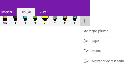 Menú Dibujar con el menú desplegable que permite agregar un lápiz personalizado