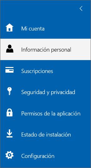 Menú Mi cuenta con la opción Información personal seleccionada.