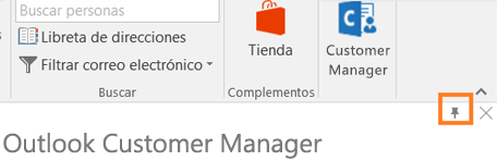 Esquina de PIN icono n la esquina superior derecha de la aplicación