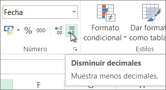 Botón Disminuir decimales