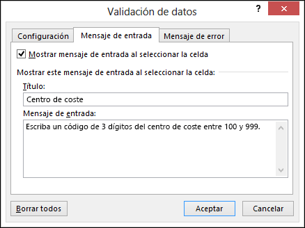 Configuración de mensaje de entrada en el cuadro de diálogo validación de datos