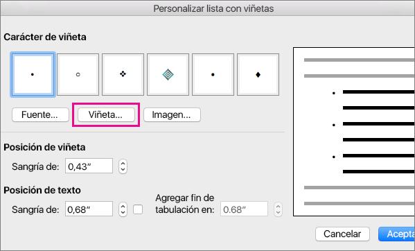 Cuadro de diálogo Personalizar lista con viñetas