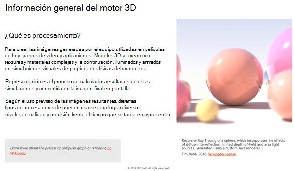 Captura de pantalla de la sección Descripción general del motor 3D de las pautas de contenido 3D