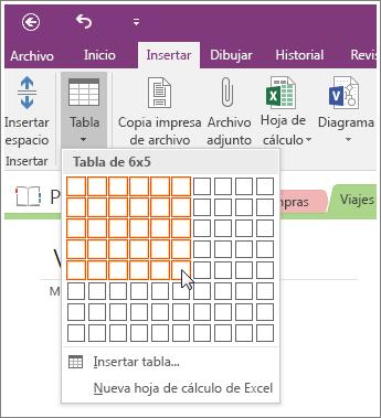 Captura de pantalla que muestra cómo agregar una tabla de OneNote 2016.
