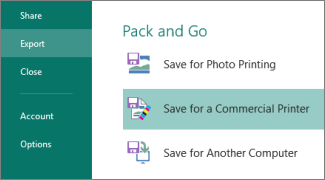 Haga clic en Archivo, Exportar para ver el paquete e ir a las opciones.