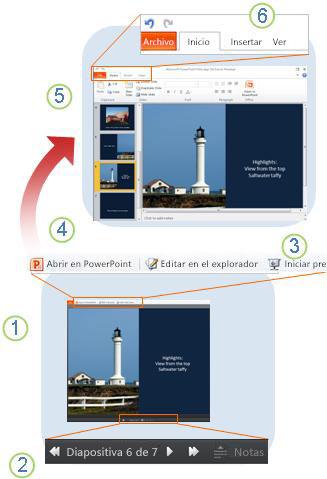 PowerPoint Web App de un vistazo
