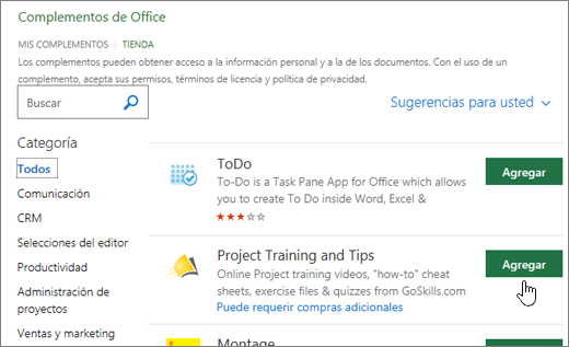 Captura de pantalla de la página de complementos de Office en la tienda donde puede seleccionar o buscar un complemento para el proyecto.