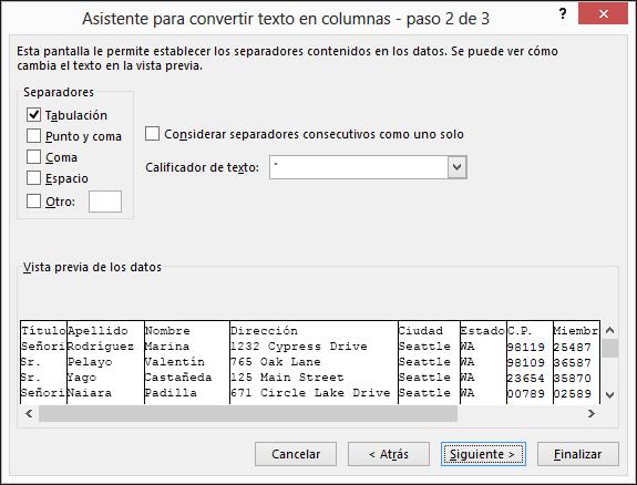 Las opciones para los Delimitadores se resaltan en el Asistente para importar texto.