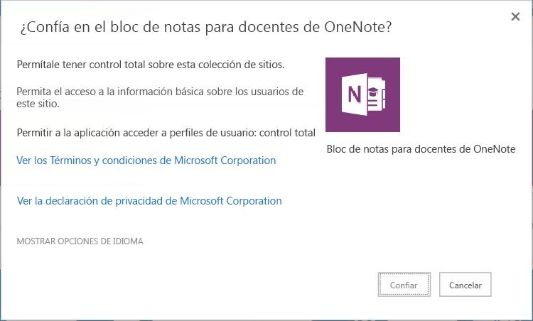 No confiar en el Creador de blocs de notas de clase de OneNote
