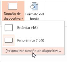 Haga clic en Tamaño de diapositiva personalizado
