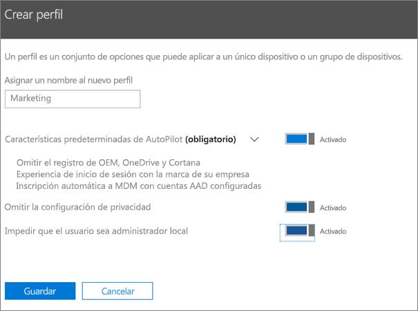 Escriba un nombre y active la configuración en el panel Crear perfil.