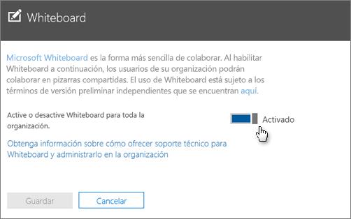 En el panel Whiteboard, active Whiteboard.