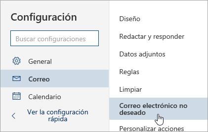 Una captura de pantalla del menú Configuración con Correo electrónico no deseado seleccionado