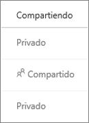 Vista de estado de uso compartido en OneDrive para la Empresa