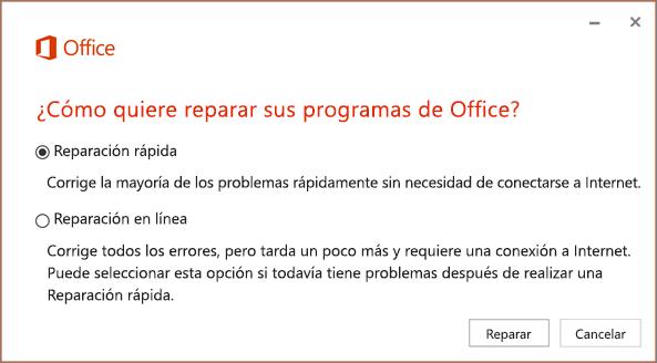 Reparación rápida de Office