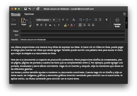 Compatibilidad con el modo oscuro en la redacción