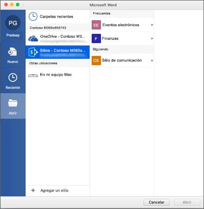 El cuadro de diálogo Abrir archivo en Microsoft Word para Mac para Office 365