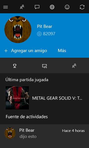 Perfil de Gamertag en Xbox