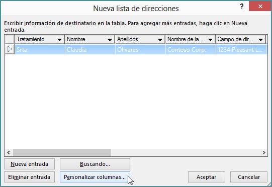 Para agregar columnas personalizadas a una lista de correo, haga clic en el botón Personalizar columnas.