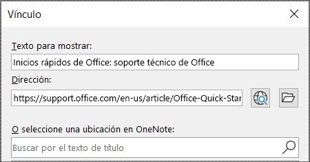 Captura de pantalla del cuadro de diálogo de vínculos en OneNote. Contiene dos campos para rellenar: Texto para mostrar y dirección.