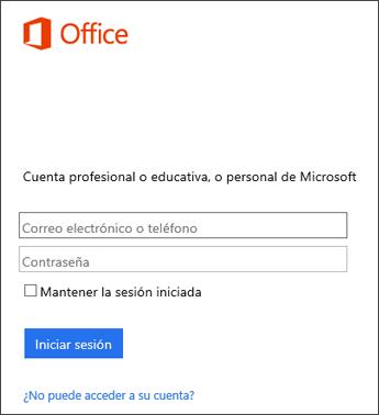 Captura de pantalla de la página de inicio de sesión para instalar Office