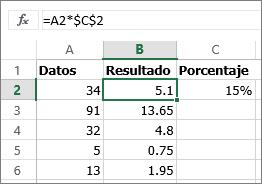 Multiplicar números por un porcentaje