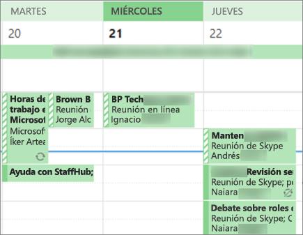 El aspecto que tiene el calendario de un usuario cuando lo comparte con detalles limitados.