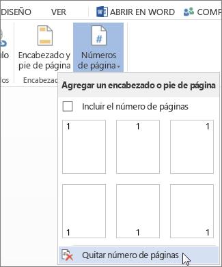 Imagen de la opción Quitar números de página seleccionada en la galería Números de página