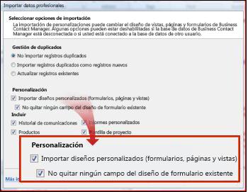 sección de importar personalizaciones de la ventana de importación