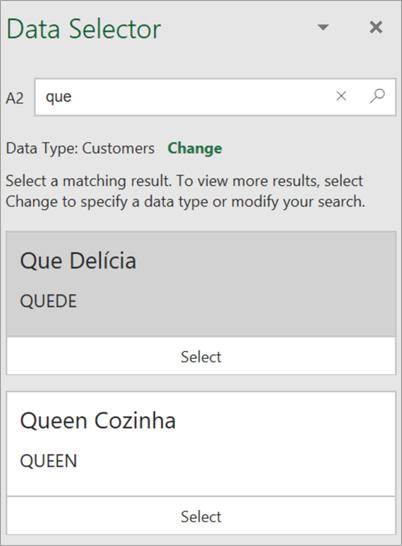 Captura de pantalla del panel Selector de datos.
