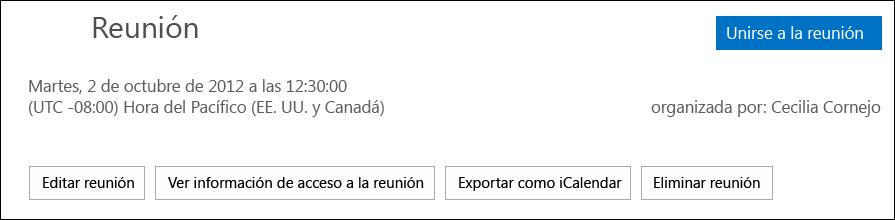Captura de pantalla del cuadro Reunión con la opción de exportar como iCalendar