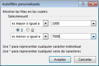 Cuadro de diálogo Personalizar autofiltro