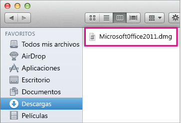 Image of the .dmg file that you double-click to open the Office installer.