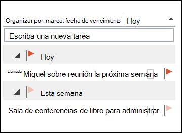 Puede cambiar el orden de las tareas en la barra Tareas pendientes.