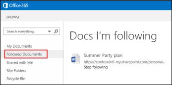 Captura de pantalla de los documentos de OneDrive para la Empresa que está siguiendo en Office 365.