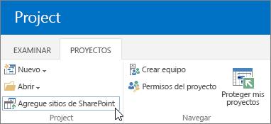 Agregar el botón Sitios de SharePoint a la cinta de opciones del Centro de proyectos