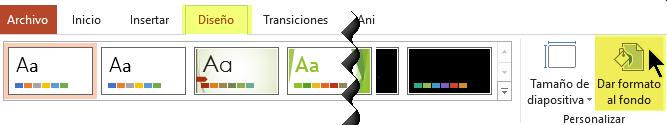 El botón Formato del fondo se encuentra en la pestaña Diseño de la cinta de opciones de PowerPoint