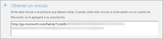 """Captura de pantalla con un primer plano de la sección """"Obtener un vínculo"""" del cuadro de diálogo """"Agregar a alguien""""."""