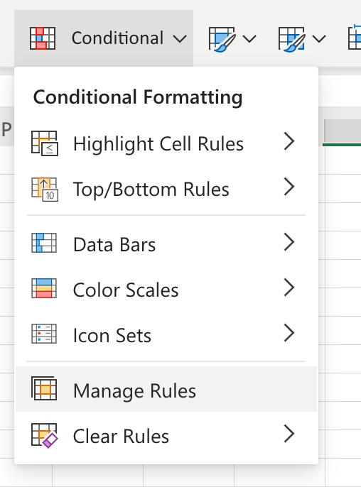 Menú de formato condicional y clic en el botón Administrar reglas