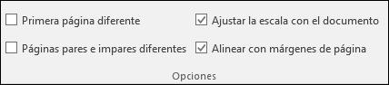 Opciones de encabezado y pie de página en la pestaña Diseño de la cinta de opciones