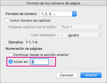 Para establecer un número de página inicial, seleccione Iniciar en y, a continuación, escriba un número.