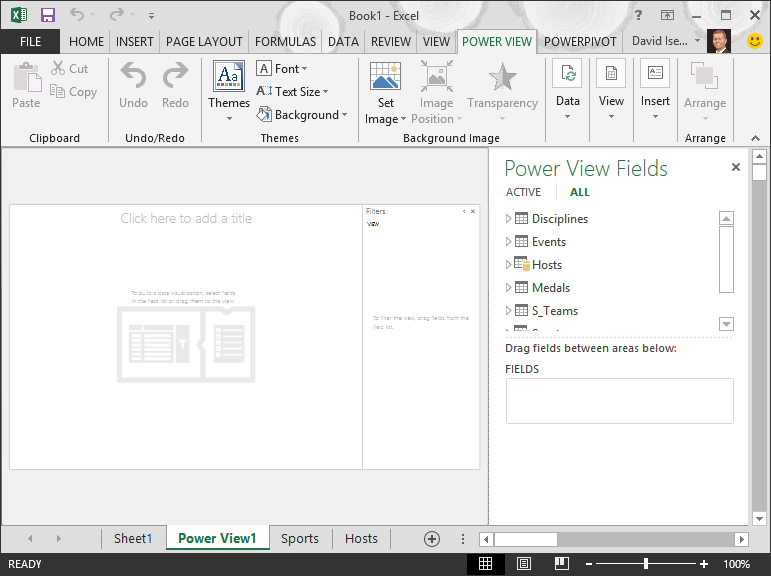 un informe de Power View en blanco en Excel