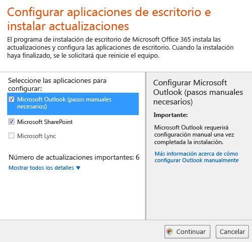 Configuración de aplicaciones de escritorio e instalar las actualizaciones