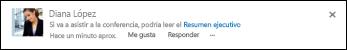 Una publicación de suministro de noticias con un vínculo a un documento de SharePoint