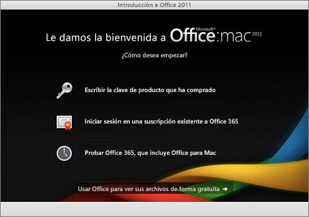 Captura de pantalla de la página de bienvenida de Office 2011 para Mac