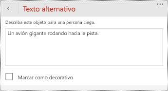 Cuadro de diálogo texto alternativo para imágenes en PowerPoint para teléfonos Windows.
