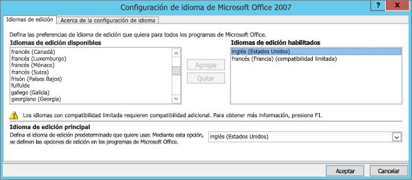 Configuración de idioma en Office 2007