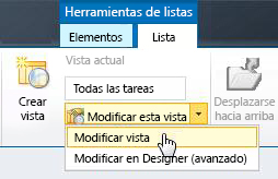 Modificar una vista