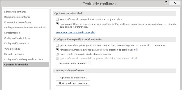 Se muestran las opciones de privacidad en el Centro de confianza de Office