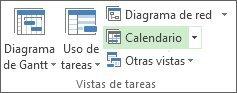 Pestaña vista, grupo vistas de tareas, botón calendario.